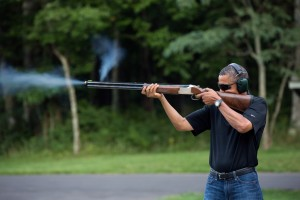 President Barack Obama shoots clay targets on the range at Camp David, Md., Saturday, Aug. 4, 2012. (Official White House Photo by Pete Souza) This official White House photograph is being made available only for publication by news organizations and/or for personal use printing by the subject(s) of the photograph. The photograph may not be manipulated in any way and may not be used in commercial or political materials, advertisements, emails, products, promotions that in any way suggests approval or endorsement of the President, the First Family, or the White House.