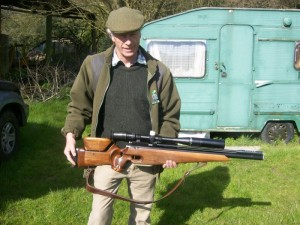 Nick Larty with a hand-built Sports Match GC2 air rifle