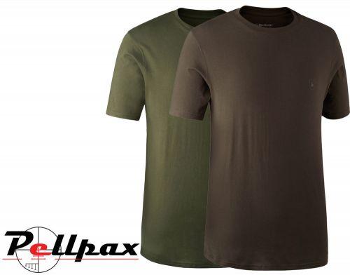 T-Shirt 2-Pack Brown & Green By Deerhunter