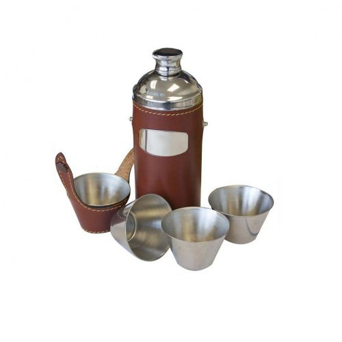 8oz Brown Leather Hunters Flask with Cups by Bisley