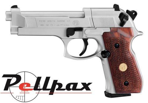 "Beretta M92FS ""Nickel"" with Wooden Grips - .177 Pellet"
