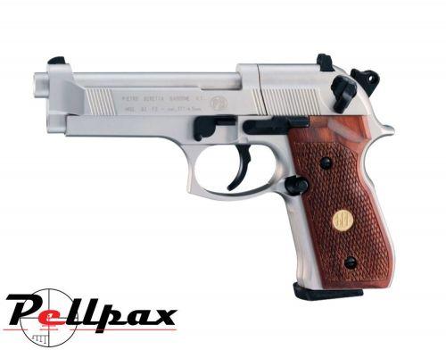 Beretta M92FS Nickel w/ Wooden Grips - .177 Pellet Air Pistol