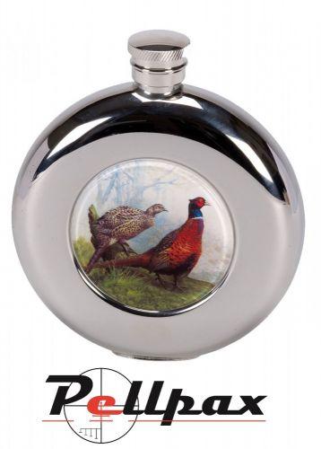4.5oz Round Pheasant Hip Flask by Bisley