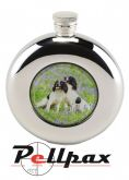 4.5oz Round Spaniels Hip Flask by Bisley