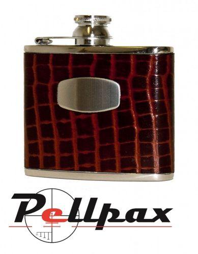 4oz Brown Croc Leather Hip Flask by Bisley