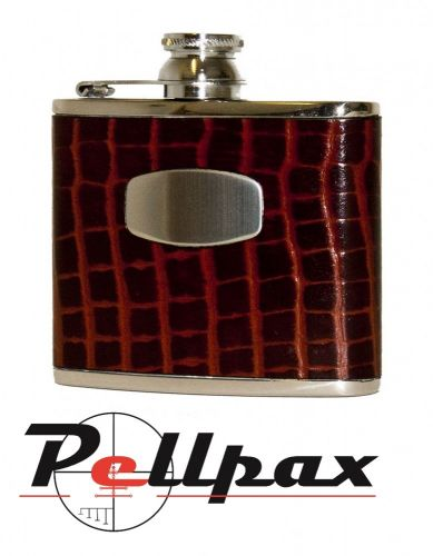 Brown Croc Leather Hip Flask by Bisley