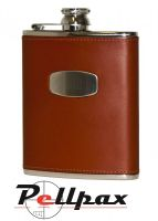 6oz Brown Leather Hip Flask by Bisley