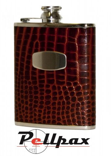 6oz Brown Croc Leather Hip Flask by Bisley