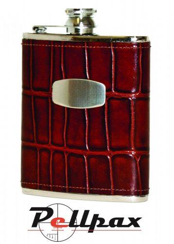 6oz Brown Windsor Croc Leather Hip Flask by Bisley