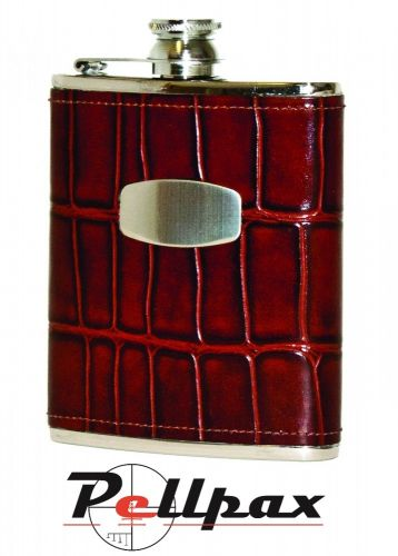 6oz Brown Windsor Croc Leather Hip Flask by Bisley