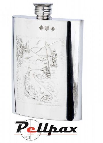 6oz Fisherman Pewter Flask by Bisley