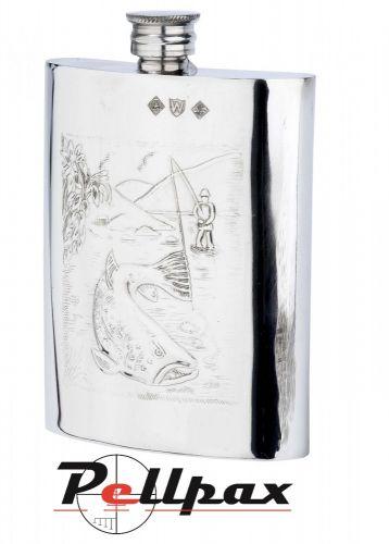 6oz Fisherman Pewter Flask by Bisley
