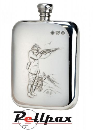 6oz Shooter & Dog Pewter Flask by Bisley