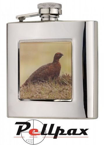 6oz Square Grouse Hip Flask by Bisley