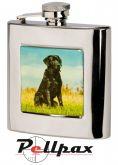 6oz Square Labrador Hip Flask by Bisley