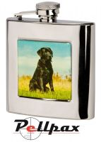 6oz Square Labrador Hip Flask by Bisley