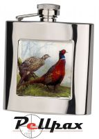 6oz Square Pheasant Hip Flask by Bisley