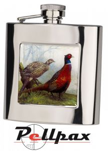 6oz Square Pheasant Hip Flask by Bisley