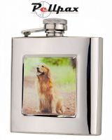6oz Square Retriever Hip Flask by Bisley