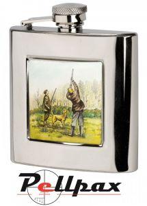 6oz Square Shooting Hip Flask by Bisley