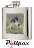 6oz Square Spaniels Hip Flask by Bisley