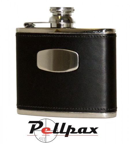 4oz Black Leather Hip Flask by Bisley