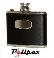 Black Leather Hip Flask by Bisley
