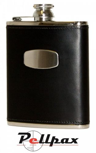 6oz Black Leather Hip Flask by Bisley