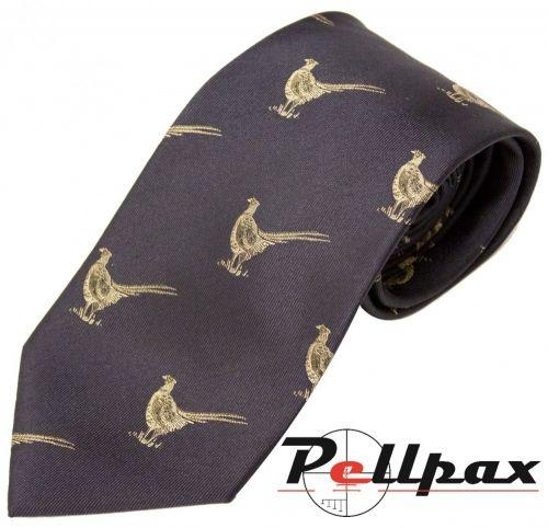 Navy Pheasant Silk Tie by Bisley