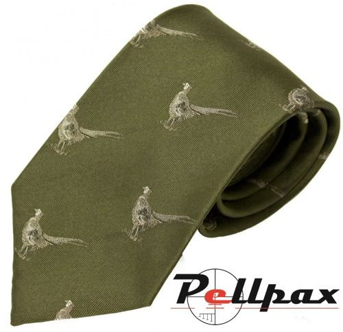 Green Pheasant Silk Tie by Bisley