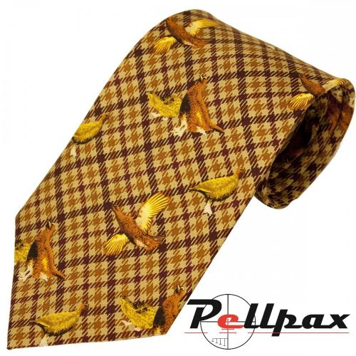 Brown Check Grouse Silk Tie by Bisley