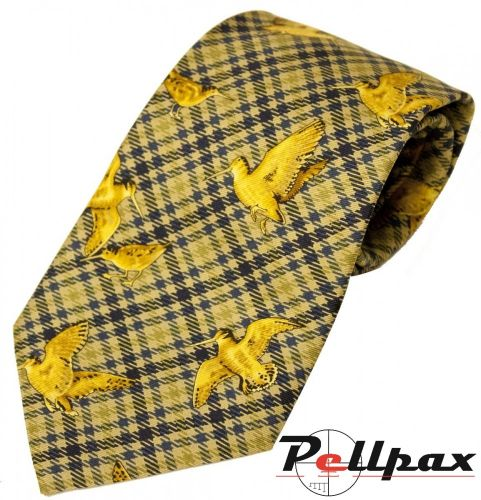 Blue / Yellow Woodcock Silk Tie by Bisley