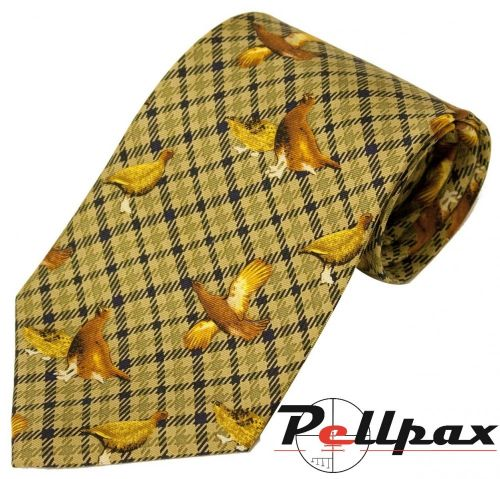 Green Check Grouse Silk Tie by Bisley