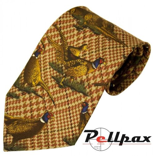 Brown Check Pheasant Silk Tie by Bisley