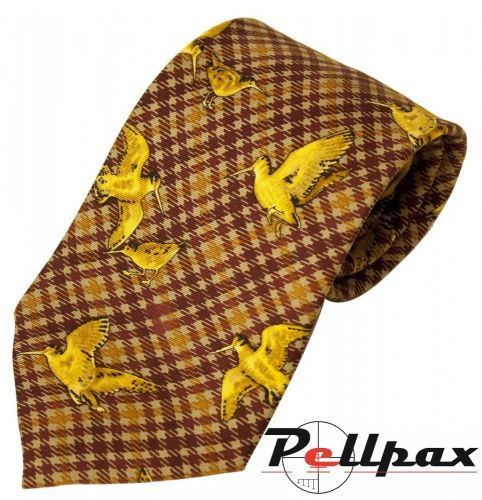 Brown / Yellow Woodcock Silk Tie by Bisley