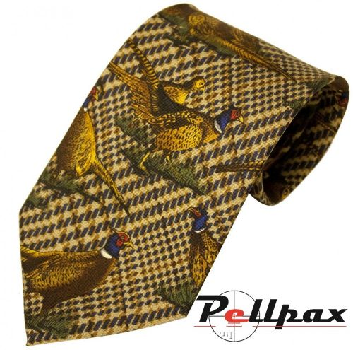 Green Check Pheasant Silk Tie by Bisley
