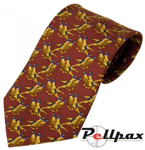 Solid Red Twin Pheasant Silk Tie by Bisley