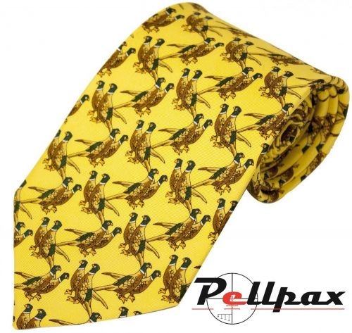Solid Yellow Twin Pheasant Silk Tie by Bisley