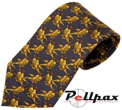 Solid Blue Twin Pheasant Silk Tie by Bisley