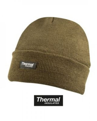 Kombat UK Thermal Bob Beanie Hat: Olive Green / Black