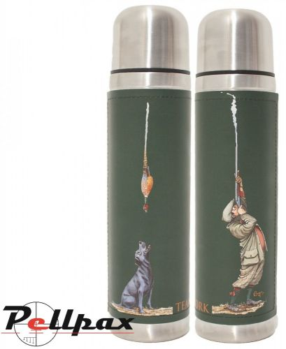 """Stainless Steel """"Teamwork"""" Illustrated Flask by Bryn Parry"""