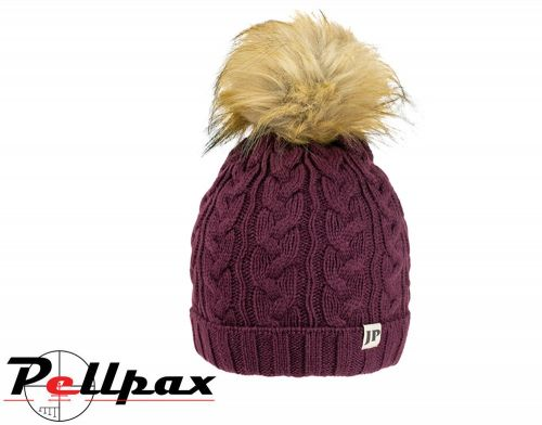 Ladies Cable Knit Hat By Jack Pyke in Burgundy