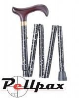 Black & White Marble Folding Walking Stick