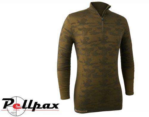 Camou Wool Undershirt with Zip-Neck in Beech Green by Deerhunter