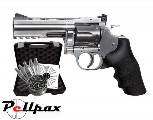"""Dan Wesson 715 4"""" Silver Pistol Kit - .177 Pellet"""