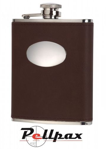 Brown Leather 6oz Hip Flask by David Nickerson
