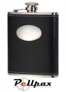 Black Croc Leather 6oz Hip Flask by David Nickerson