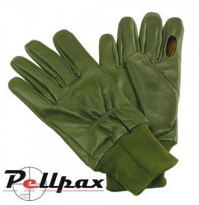 Green Sheepskin Leather Shooting Gloves