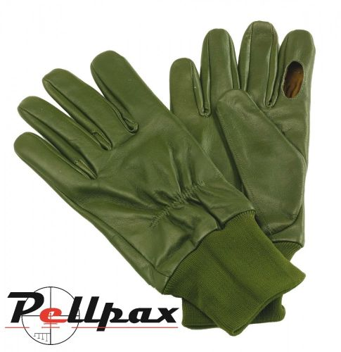 Green Sheepskin Leather Shooting Gloves
