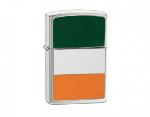 Zippo Brushed Chrome Flag Lighter - Ireland